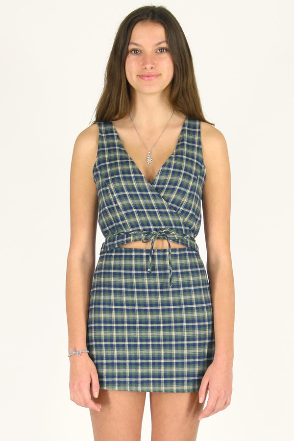 Wrap Top - Flanel Green Plaid