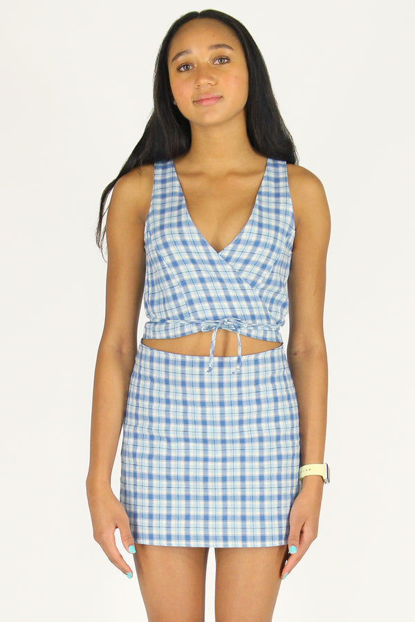 Wrap Top - Flanel Blue Plaid