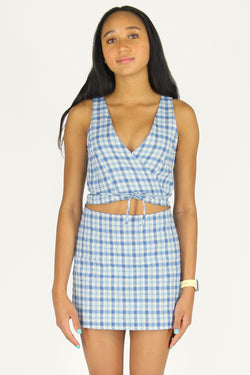 Front Tie Tank Top - Flannel Blue Plaid