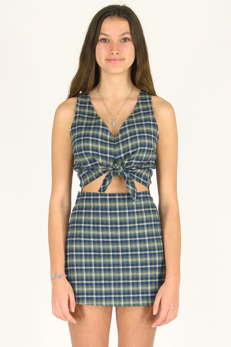 Front Tie Tank Top and Skirt - Flannel Green Plaid