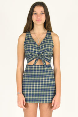 Front Tie Tank Top - Flannel Green Plaid
