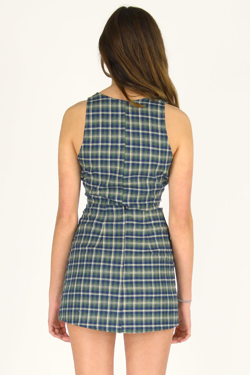 Front Tie Tank Top and Skirt - Flanel Green Plaid