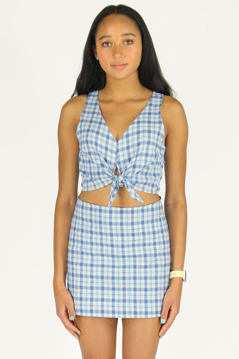 Front Tie Tank Top and Skirt - Flannel Blue Plaid