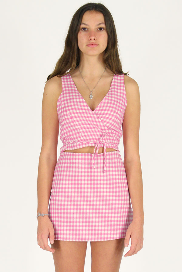 Wrap Top and Skirt - Flanel Pink Checker