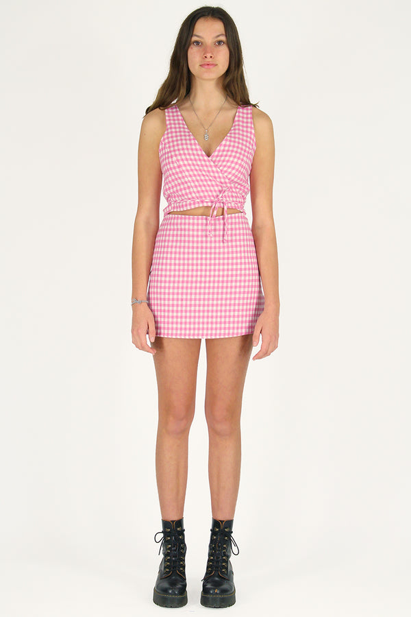 Wrap Top - Flanel Pink Checker