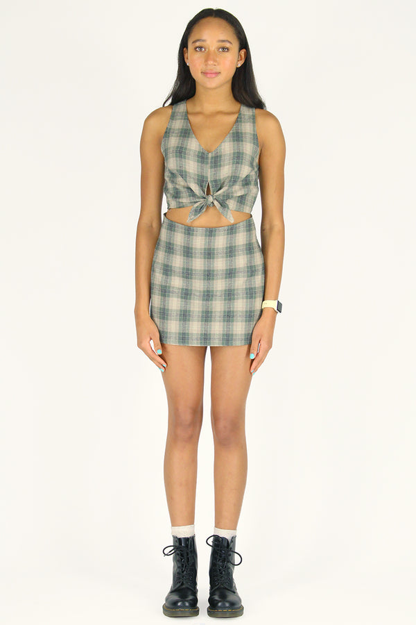 Front Tie Tank Top - Flannel Green Beige Plaid