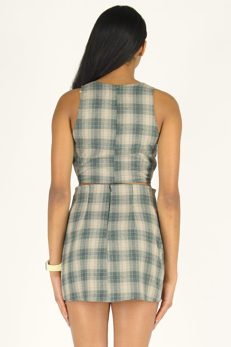 Front Tie Tank Top and Skirt - Flanel Green Beige Plaid