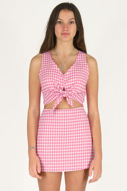 Front Tie Tank Top - Flannel Pink Checker
