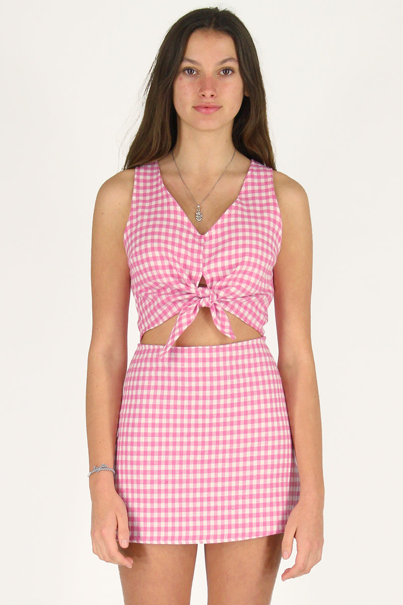 Front Tie Tank Top - Flanel Pink Checker