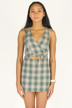 Wrap Top - Flanel Green Beige Plaid