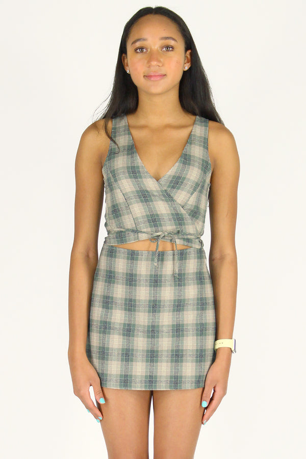 Wrap Top and Skirt - Flanel Green Beige Plaid