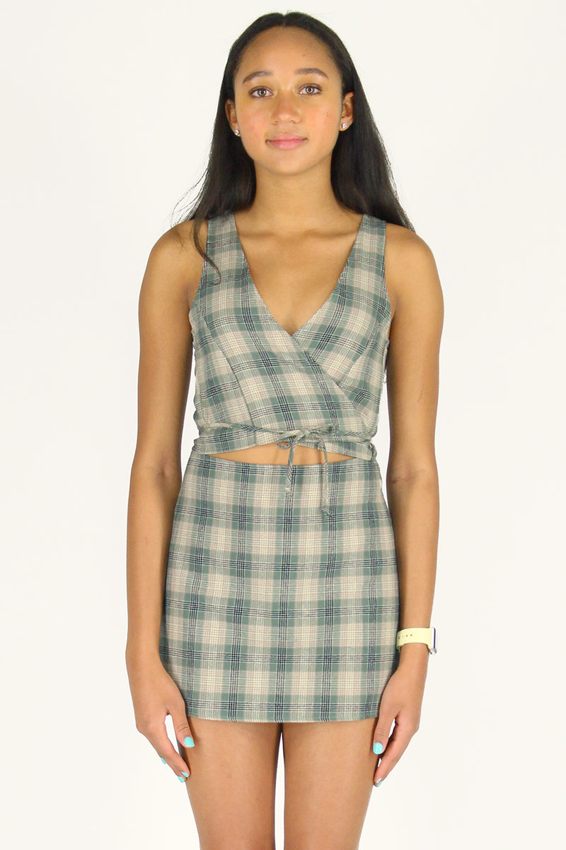 Wrap Top and Skirt - Flannel Green Beige Plaid