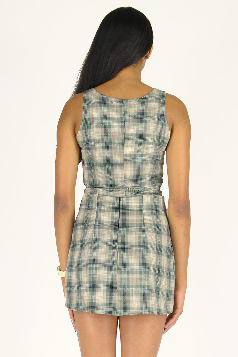 Skirt - Flannel Green Beige Plaid