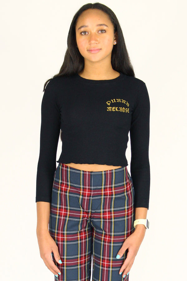Purrr Melrose Ribbed Long Sleeve Shirt - Black with Gold Embroidered Logo