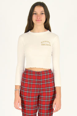 Purrr Melrose Ribbed Long Sleeve Shirt - White with Gold Embroidered Logo