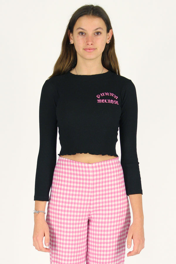 Purrr Melrose Ribbed Long Sleeve Shirt - Black with Pink Embroidered Logo