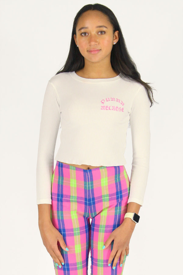 Purrr Melrose Ribbed Long Sleeve Shirt - White with Pink Embroidered Logo