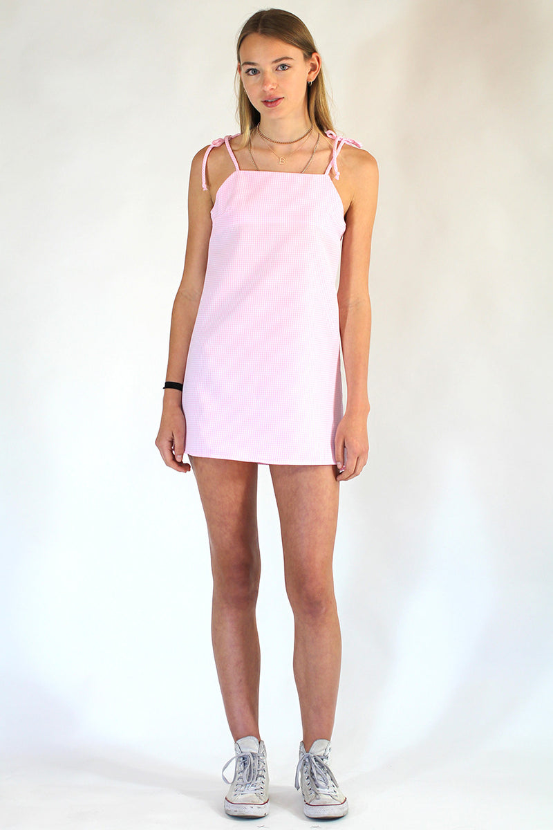 Ribbon Square Neck Dress - Pink Gingham