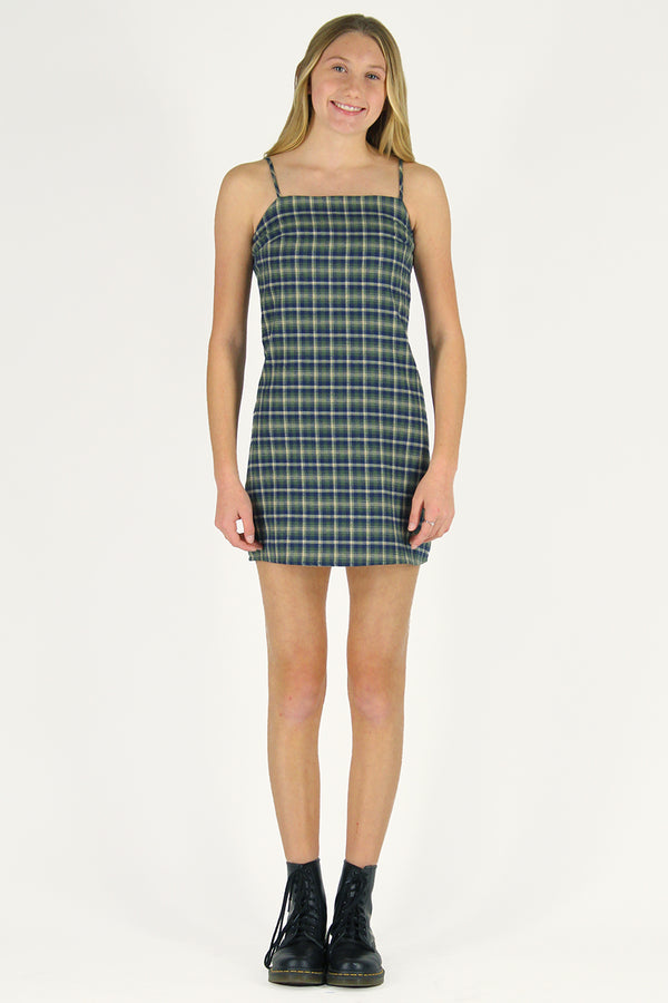 Fitted Square Strap Dress - Flanel Green Plaid