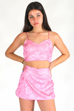 Adjustable Cami Top - Pink Satin with Roses