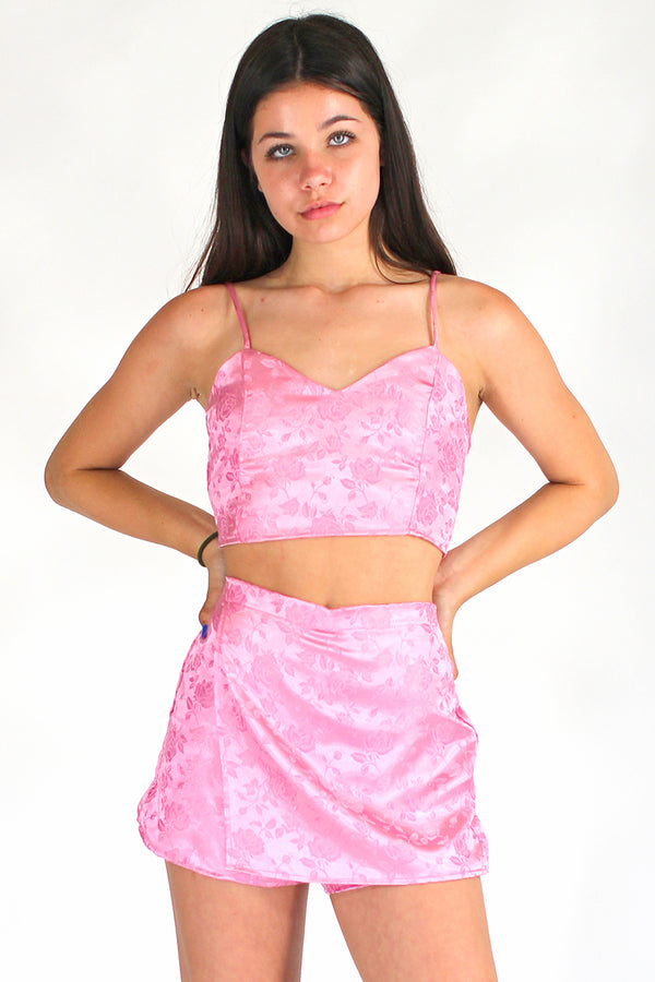 Skorts - Pink Satin with Roses