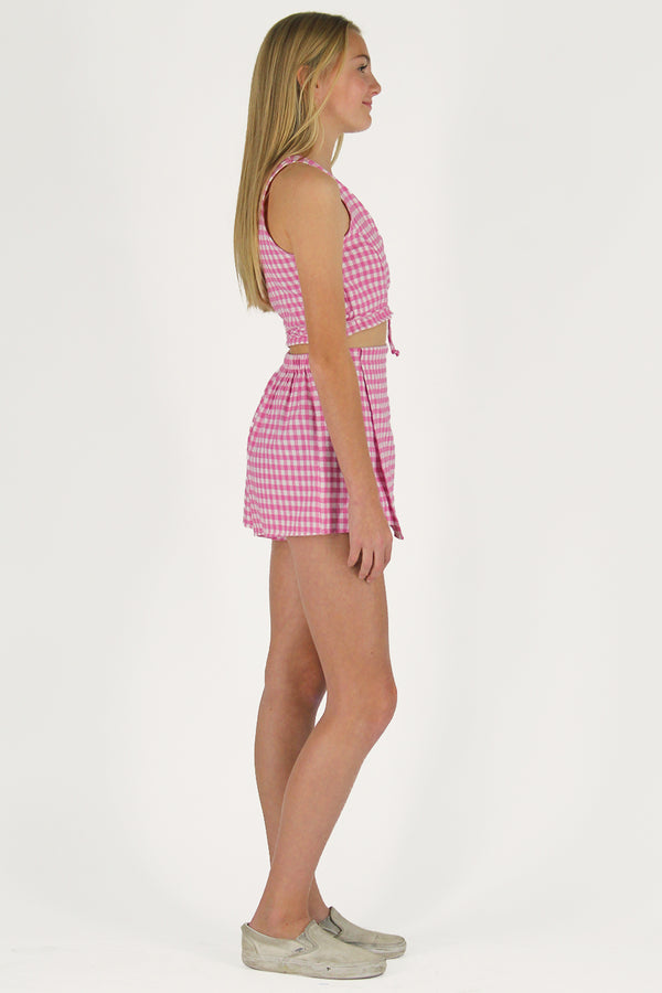 Wrap Top and Skorts - Flannel Pink Checker