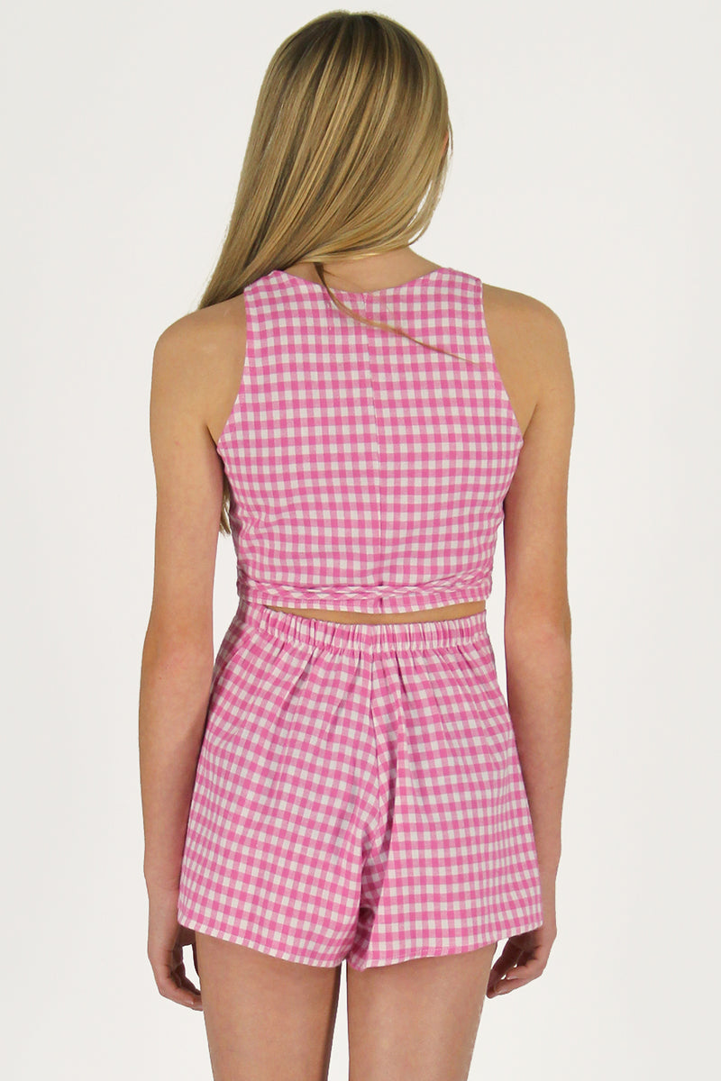 Wrap Top and Skorts - Flanel Pink Checker