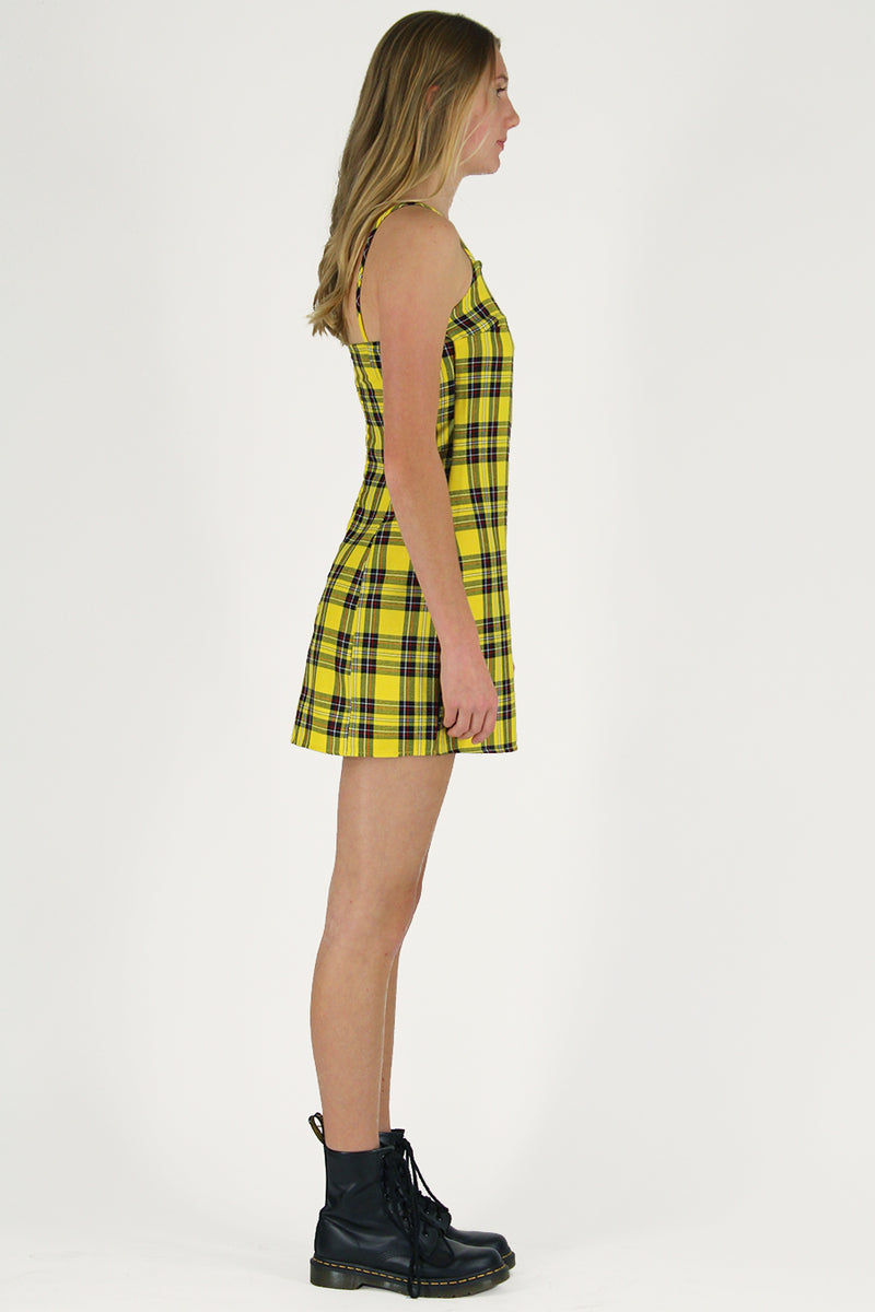 Fitted Square Strap Dress - Yellow Plaid