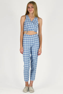 Wrap Top and Pants - Flannel Blue Plaid