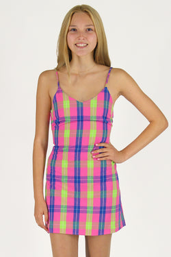 Adjustable Lace Back Dress - Flanel Pink Plaid