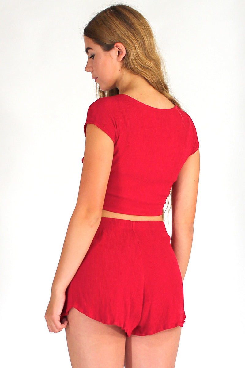 Front Tie Shirt and Shorts - Red Scrunchy
