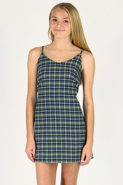 Adjustable Lace Back Dress - Flannel Green Plaid