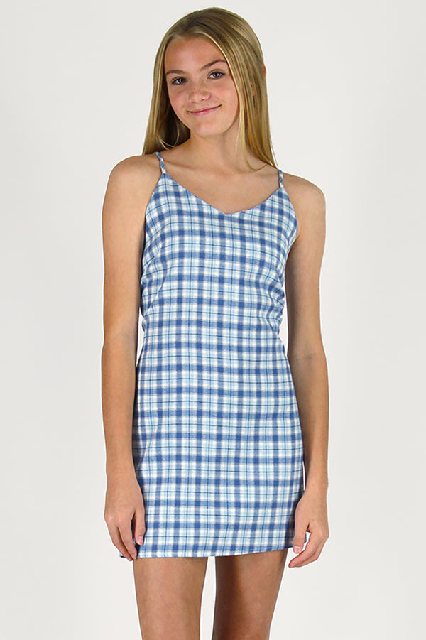 Adjustable Lace Back Dress - Flannel Blue Plaid
