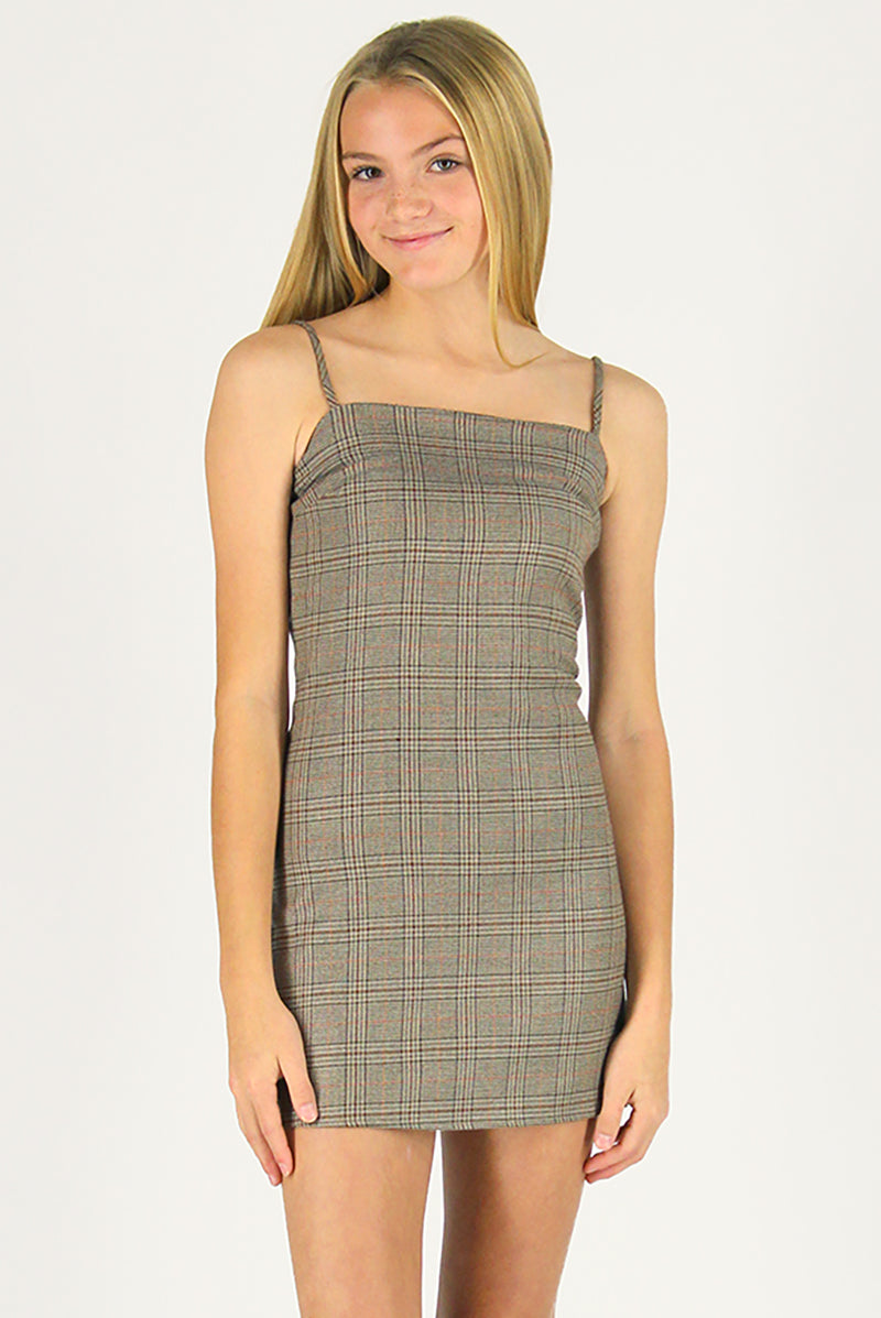 Fitted Square Strap Dress - Beige Plaid