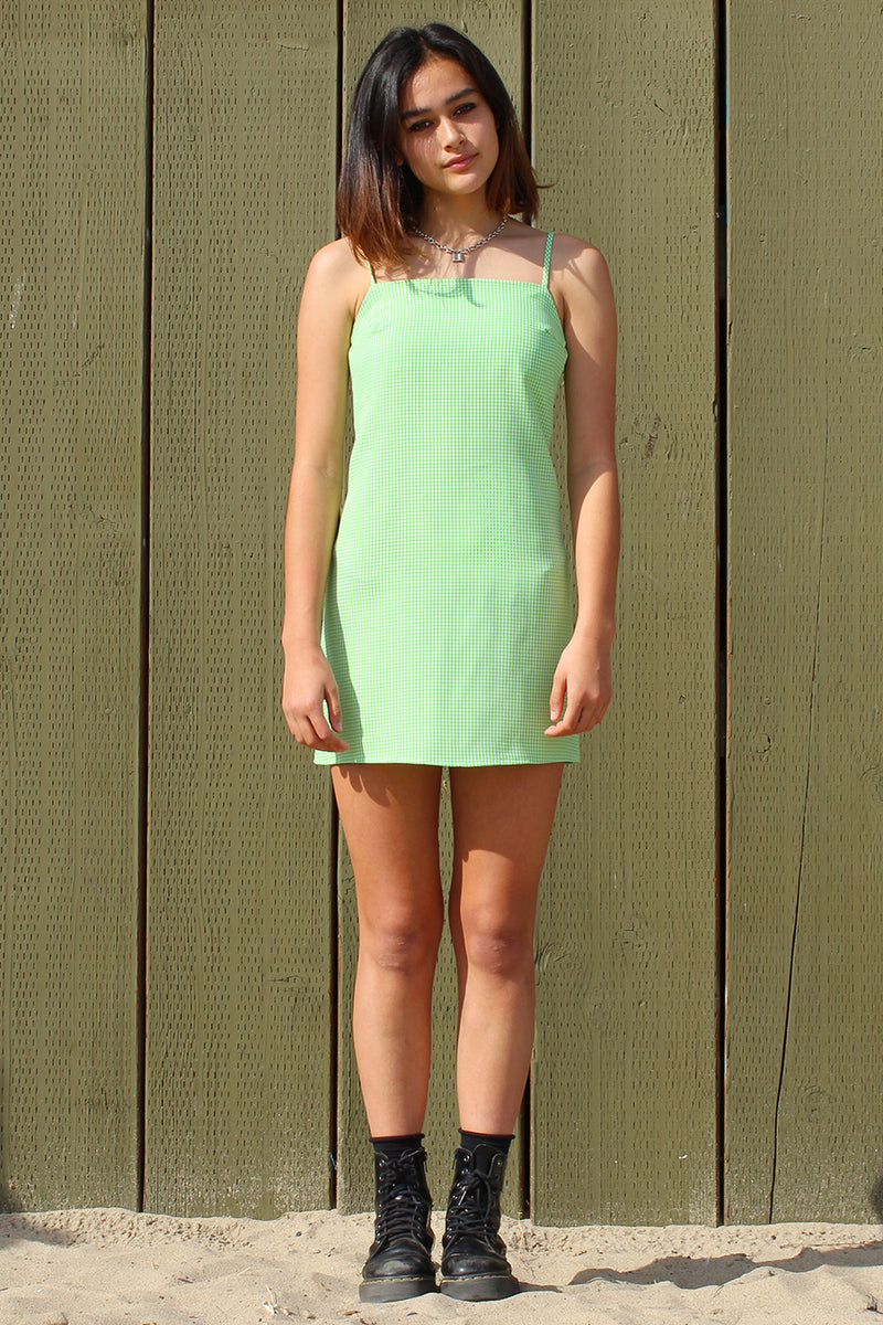 Fitted Square Strap Dress - Lime Green Gingham