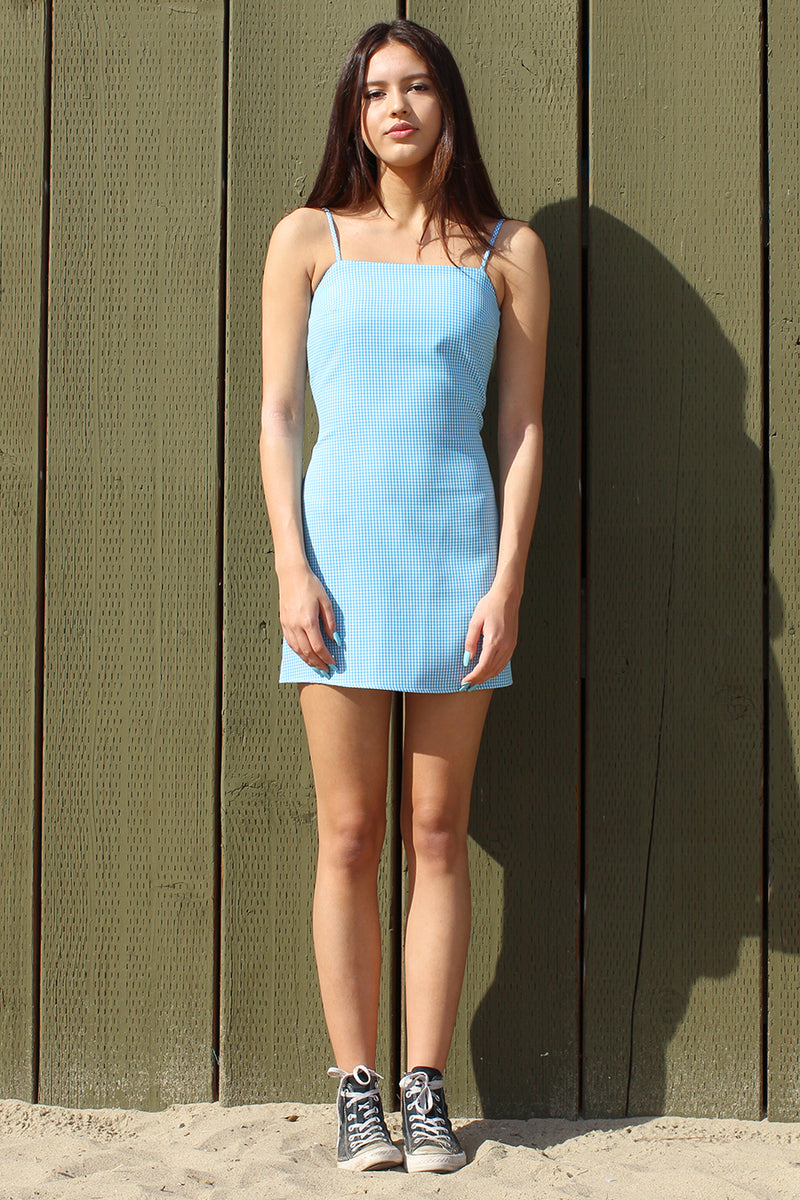 Fitted Square Strap Dress - Baby Blue Gingham