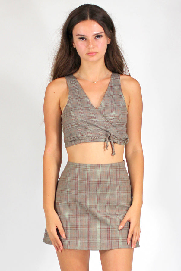 Wrap Crop Top and Skirt - Beige Plaid