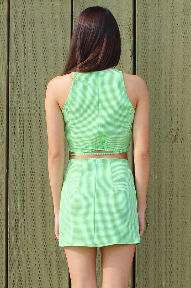 Wrap Crop Top and Skirt - Lime Green Gingham