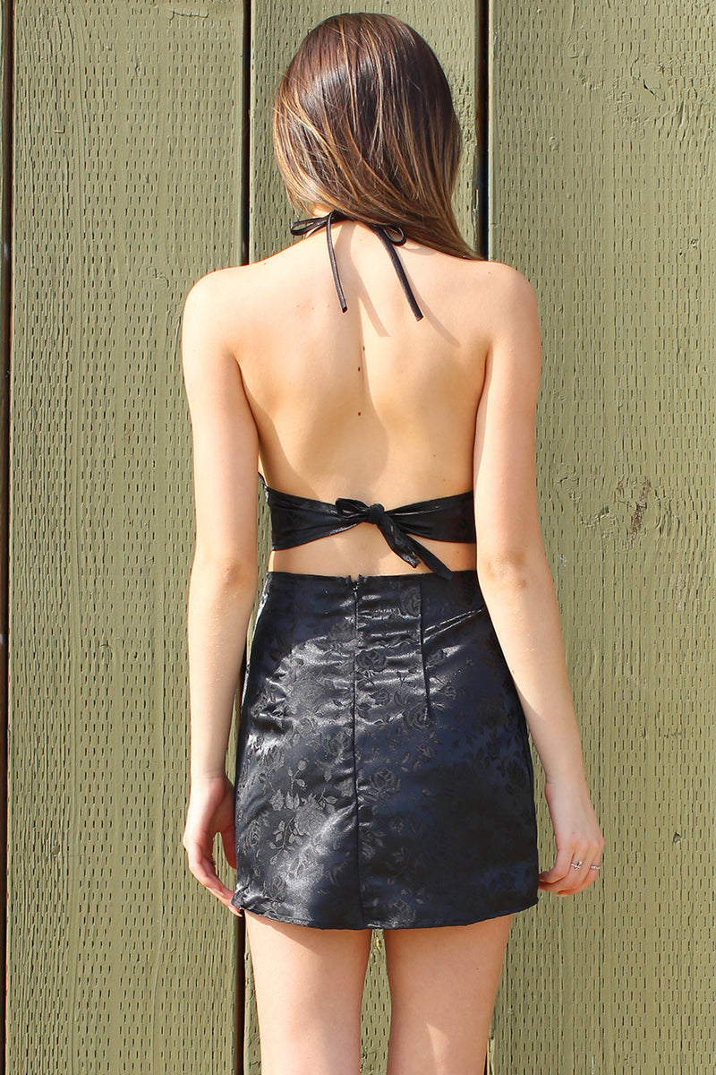 Bralette and Skirt - Black Satin with Roses