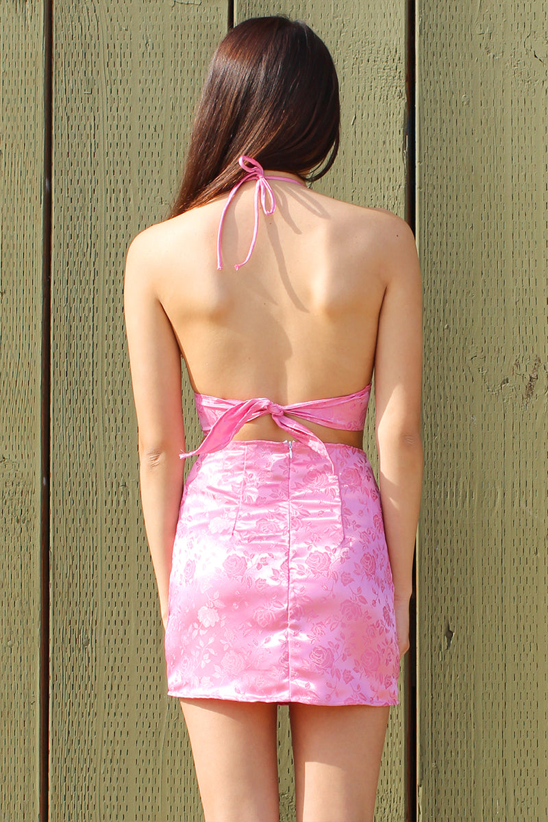 Bralette and Skirt - Pink Satin with Roses