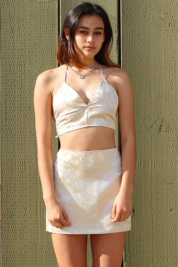 Bralette and Skirt - Champagne Satin with Roses