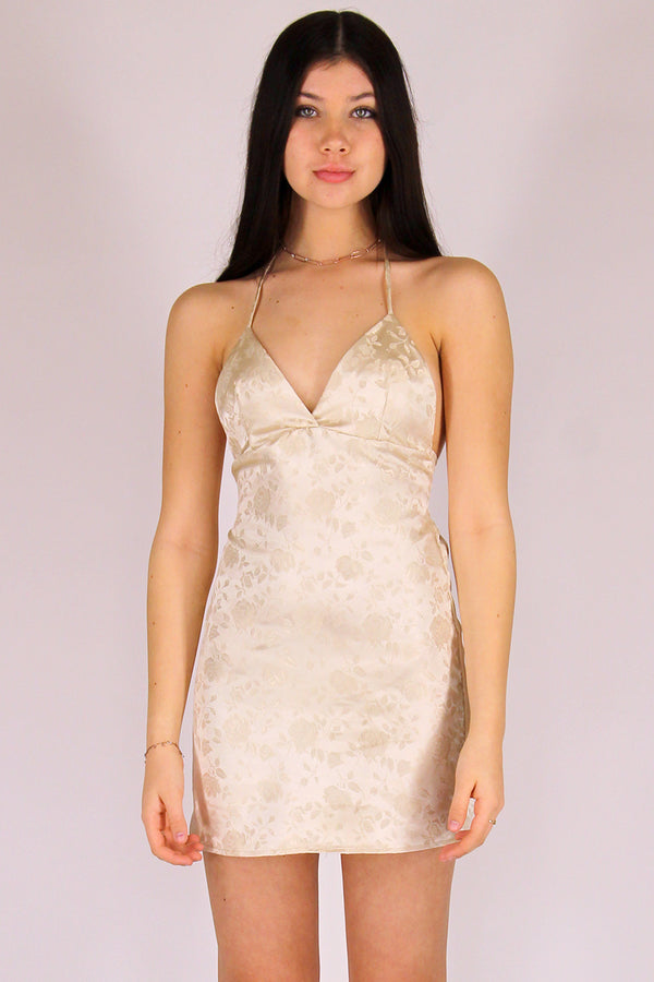 Adjustable Bralette Dress - Champagne Satin with Roses