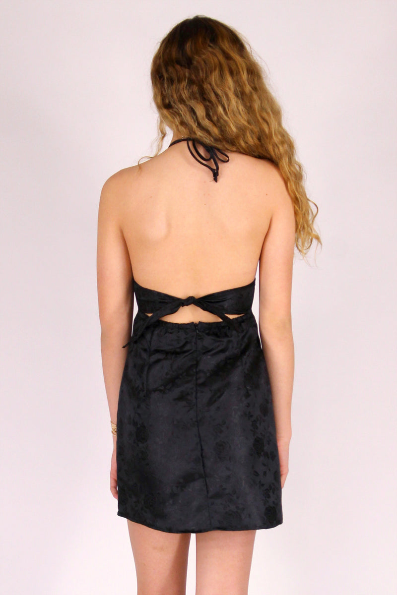 Adjustable Bralette Dress - Black Satin with Roses
