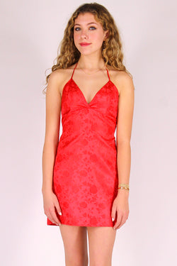 Adjustable Bralette Dress - Red Satin with Roses