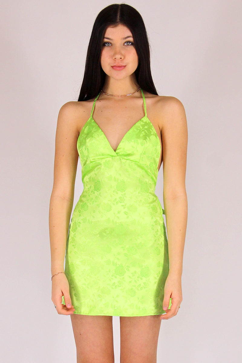 Adjustable Bralette Dress - Lime Green Satin with Roses