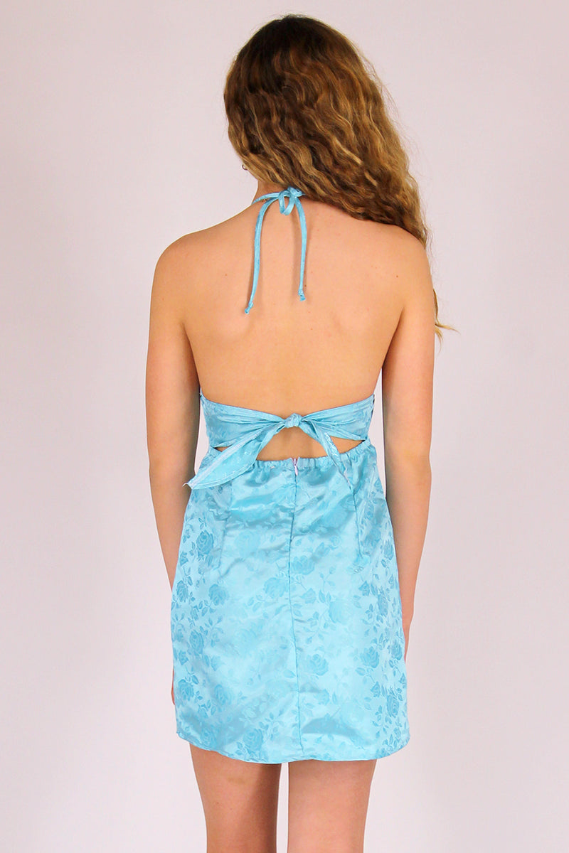 Adjustable Bralette Dress - Baby Blue Satin with Roses