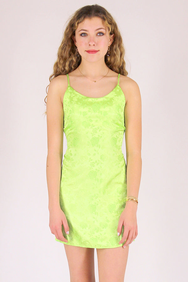 Adjustable Satin Dress - Lime Green with Roses