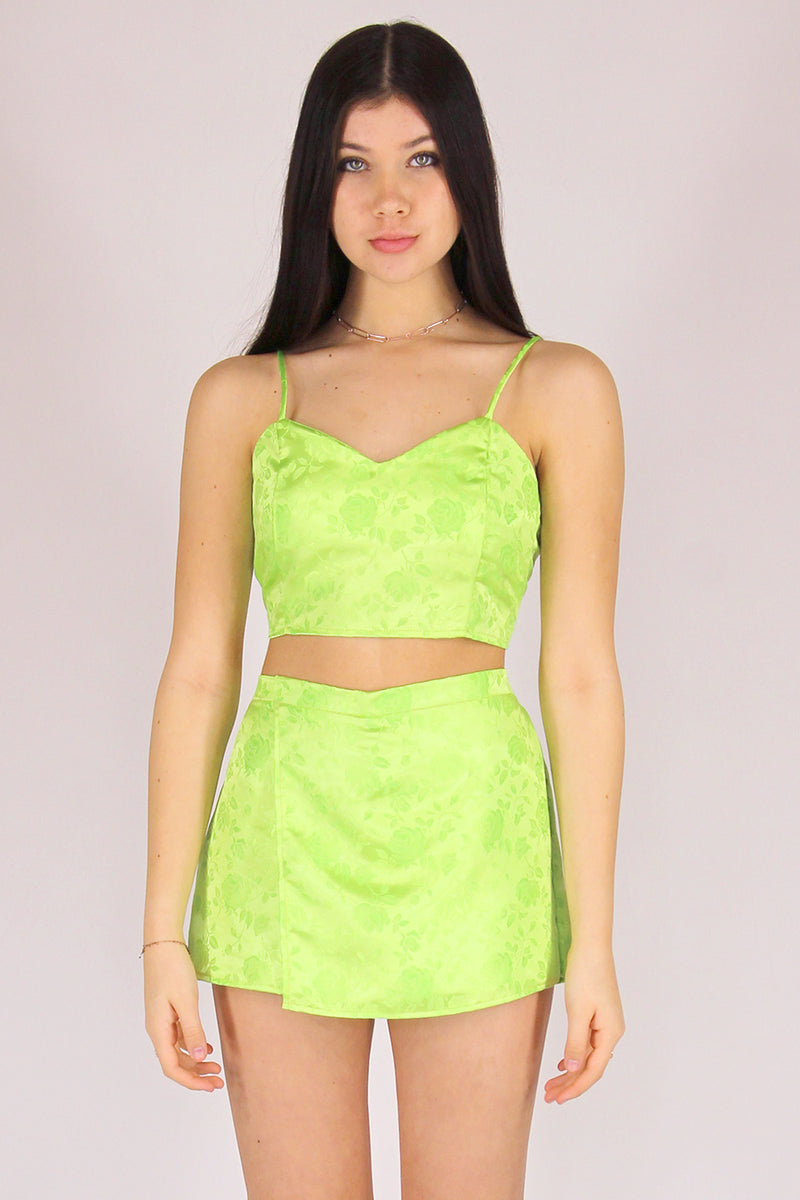 Adjustable Cami Top and Skorts - Lime Green Satin with Roses