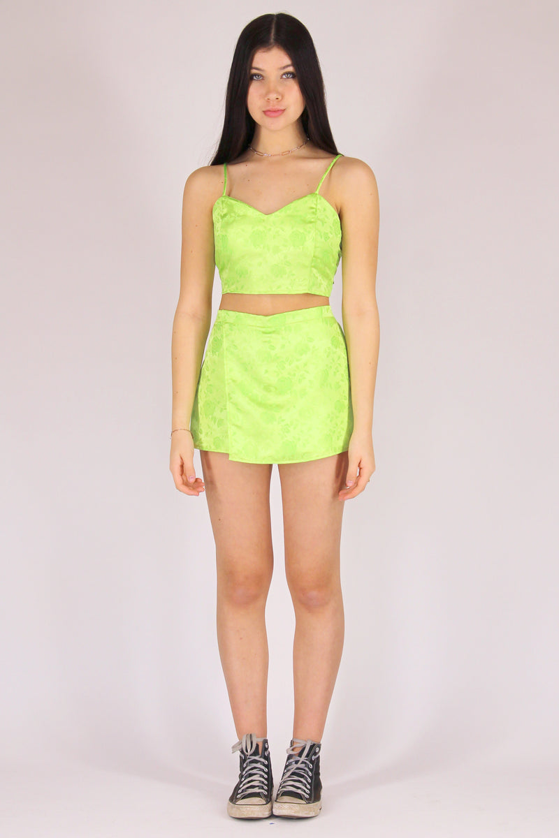 Skorts - Lime Green Satin with Roses