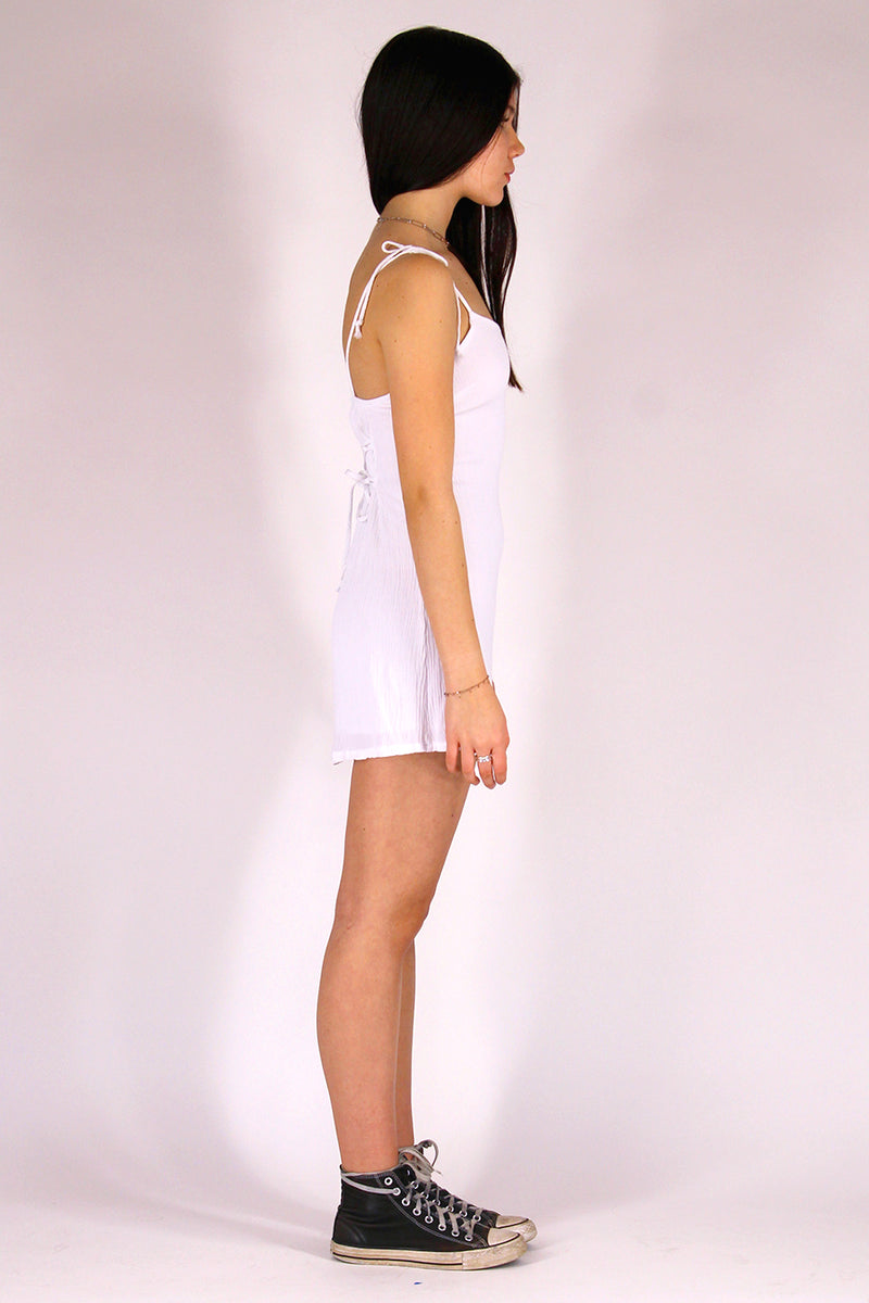 Adjustable Ribbon Dress - White Scrunchy